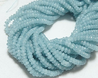 Gemstone Beads, Faceted Angelite Rondelles, 4x3mm 20pcs