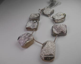 Silver Gray Druzy Agate , Lighter color, Large Top drilled Bead Silver  20x12 varies , price  Per Bead