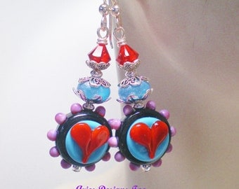 Colorful Funky Heart Earrings in Red,Turquoise,Purple and Black, South Western Funky Heart Earrings