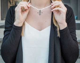 Fleur de Lis Jewelry, Fleur de Lis Necklace, Baroque Pearls, Pearl White
