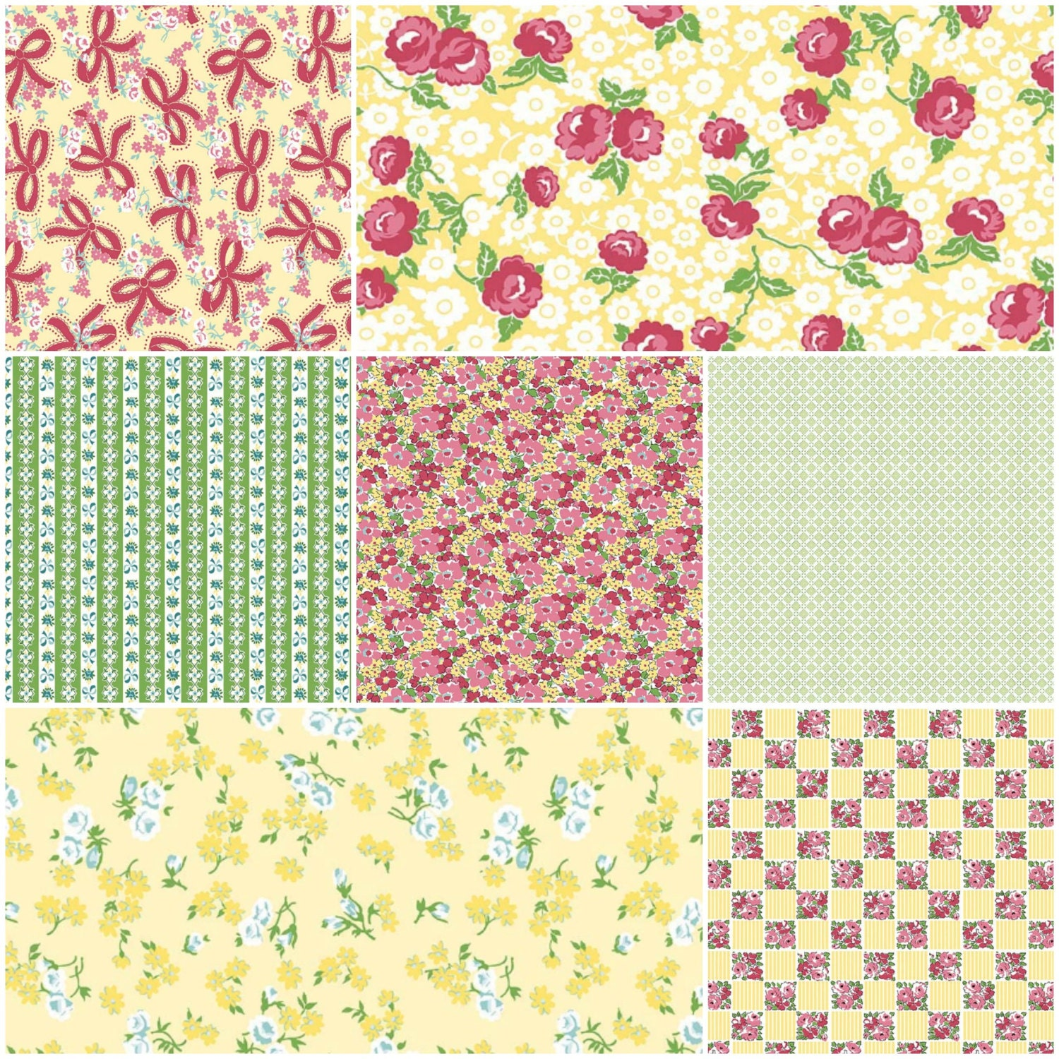 Dainty Darling Fabric by Lindsay Wilkes for Riley Blake Designs - Yellow Colorway - 7 yards