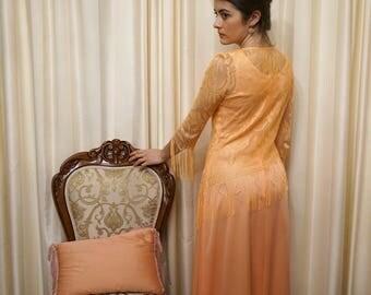 Vintage 60s 70s Light Sunburnt Orange Two Piece Lace Tassel Fringe Overlay Top and Dress Evening Gown