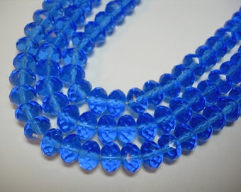 25 8x6mm Dark Sapphire Blue Czech glass Rondelle beads