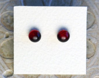 Dichroic Glass Earrings, Petite, Garnet Red DGE-1000