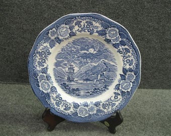 "10"" Plate Lochs of Scotland England blue and white"