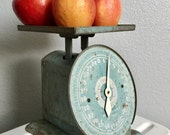 Antique Vintage Light Blue Metal Tin Kitchen Scale.  Rare American Family Scale.  Early 1900s.