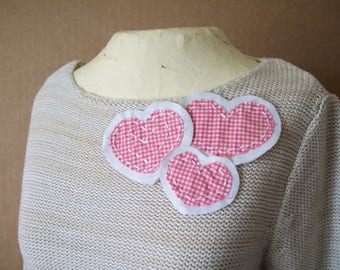 BORO Slow Stitch Patches, Embroidered Red Gingham Hearts, set of 3