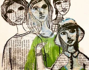 Giclee Print of Original Monoprint Artwork on vintage book paper little women drawing illustration