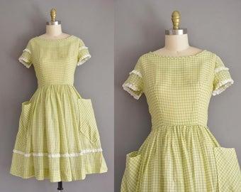 vintage 1950s dress. 50s green cotton gingham print vintage dress