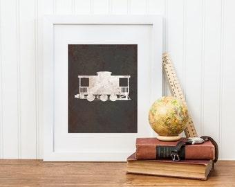 Train Caboose Printable Art - Digital Download - Vintage Train Caboose Print - Boy Train Nursery