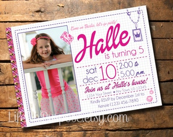 Barbie Inspired Birthday Invitation