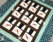 SPECIAL LISTING For TRACI, Snowman Quilt, Teal And Brown,