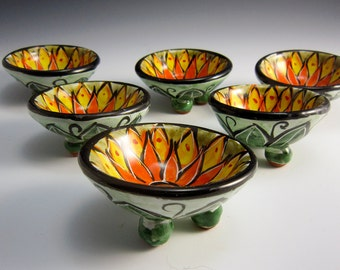 Ceramic Ring Dish - Pottery Ring Dish Holder - Trinket dish - Yellow Orange Lotus Flower - Olive Green - Majolica - Pottery Ring Dish