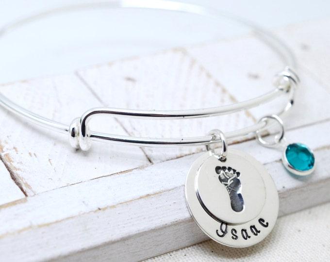 Custom Silver Bangle, Dainty Name Bracelet, Mommy Jewelry Women, New Mom Gift, Baby Footprint, Personalized Jewelry, Grandma Nana Jewelry