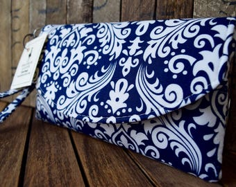 Navy Damask Smart Phone Wallet, Navy Bridesmaids Clutch,  Phone Wallet, Phone Wristlet, Navy Wallet, Bridesmaids Gifts, Wedding Clutch