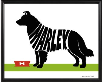 Personalized Border Collie Silhouette Print, Dog Memorial Gift, Framed Border Collie Wall Art