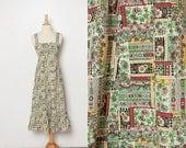 vintage 1970s midi folk dress