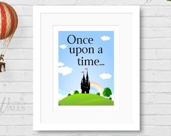 Once Upon A Time FAIRY TALE ART Print - Fairytale Wall Art, Cinderella, Sleeping Beauty, Princess Home Decor, Wall Decor