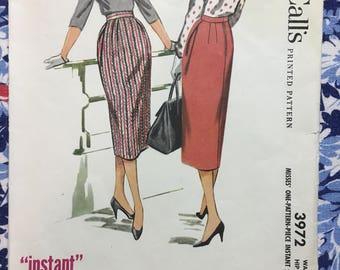 "McCall's 3972 UNCUT sewing pattern copyright 1956 Pencil Skirt Size 28"" waist"