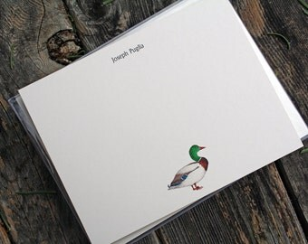 Mallard Duck Custom Stationery Notecards, Water Fowl Stationery. Thank You, Any Occasion, Personalize Watercolor Print, Set of 10.