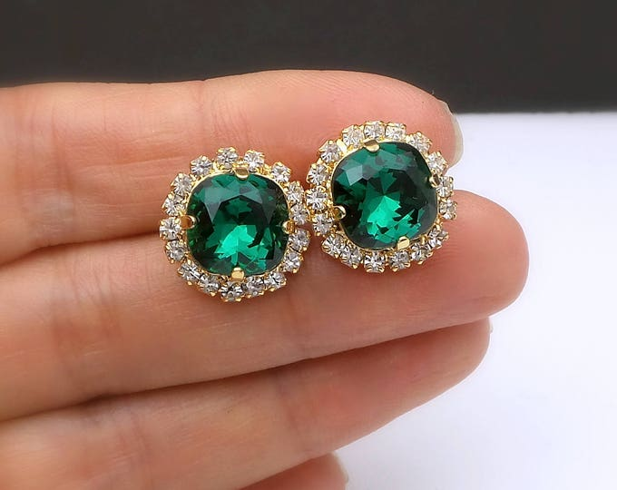 bridal wedding Swarovski emerald green square crystal rhinestone stud post earrings clear white stone setting christmas gold earrings (SM)
