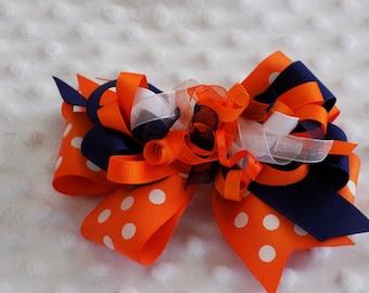Auburn Hair bow Stacked hair bow grosgrain hairbow