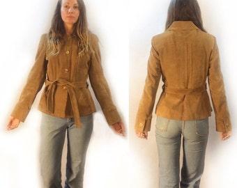 vintage 70s 80s suede blazer jacket // size 13/14 medium large // leather jacket coat // camel honey light brown