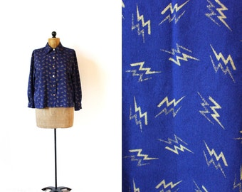 vintage blouse 60's blazer navy blue lightning bolt abstract print gold 1960's women's clothing size m l medium large