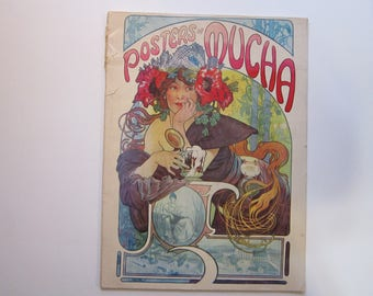 vintage POSTERS OF MUCHA book - 21 poster prints - softcover, circa 1975