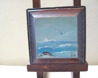 Vintage orignal ocean painting- on easel-signed-sale