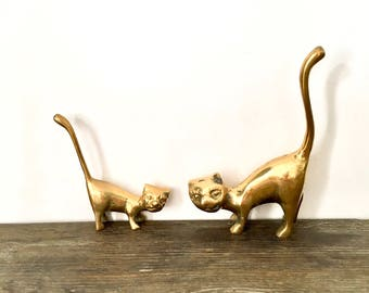 Vintage Brass cats with Long Tail /  Ring Holders