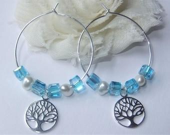 Ocean Blue Tree of Life Earrings, Feminine Springtime Freshwater Pearl and Cubed Hoop Earrings