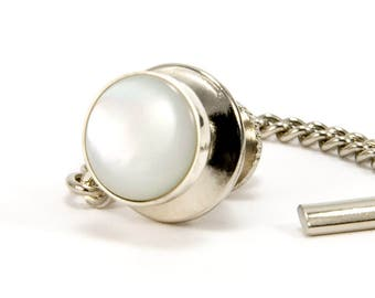 Mother of Pearl Sterling Silver Tie Tack - Men's Tie Tack – MOP Tie Tac - Gift for Fathers Day, Wedding, Anniversary, Graduation