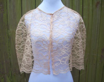 BEIGE Lace Capelet Lace Cape Cover-up Special Occasion Holiday Lace Bridal Wrap Wedding Stole Bridal Shawl -many colors available FREE SHIP
