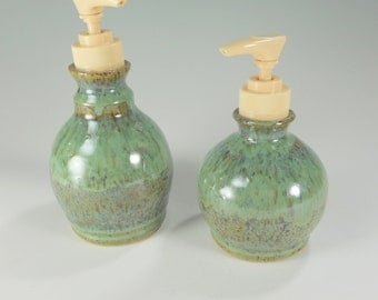 Pottery soap and lotion set of 2 - ceramic soap pump - pottery lotion pump - stoneware lotion pump - detergent pump green glaze