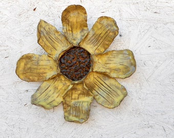 Ceramic sunflower, outdoor garden art, pottery sunflower sculpture, ceramic wall art, yellow sunflower garden art, stoneware  wall art