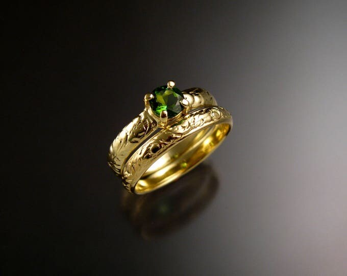 Green Tourmaline 14k Green Gold Victorian floral pattern wedding ring set Emerald substitute engagement rings