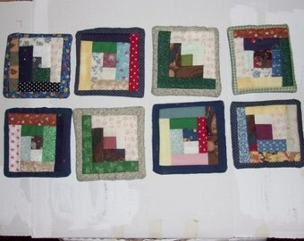 """COASTERS Set of 8, Traditional """"Log Cabin:"""" Quilt Pattern, Multicolor, Scrappy Fabric, Appalachian Made, 4X4 Inches,"""