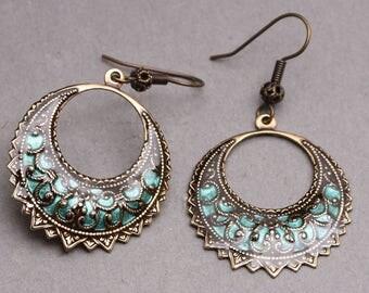 Wedding Earrings, Brass Earrings, Earrings, Blue Earrings