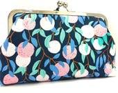 clutch purse - orange you glad - orange -   dark navy blue - 8 inch metal frame clutch purse - large purse - kisslock