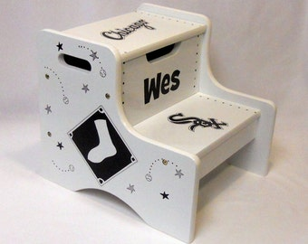 Large Personalized Two Step Stool Chicago White Sox Baseball
