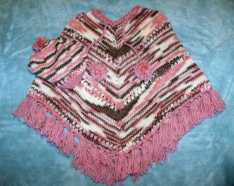 Girls Poncho and Matching Hat