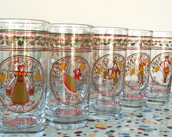 12 Days of Christmas Anchor Hocking Glasses incomplete set