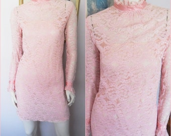 Vtg.60s Pink Lace Mod Long Sleeve Mini Dress.Small.Bust 34.Waist 30.Hips 36.