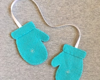 Mittens Christmas Ornament in Teal Felt with Silver Snowflake