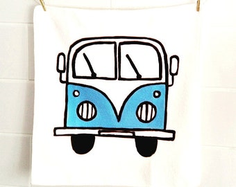 Campervan Face Cloth Blue, Combi Cloth, Wash Cloth, VW, Flannel, Children's Gift, Bath Accessories