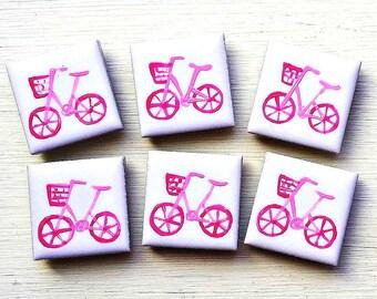 Pink Bike Magnet, Fridge Magnet, Stationary Magnets, Gift for Teacher, Refrigerator Magnet