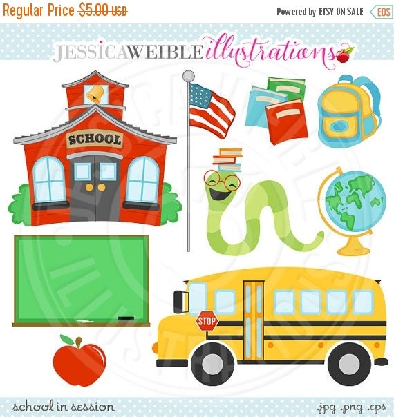 ON SALE School in Session Cute Digital Clipart - Commercial Use OK - School House Graphics - School Bus Clipart