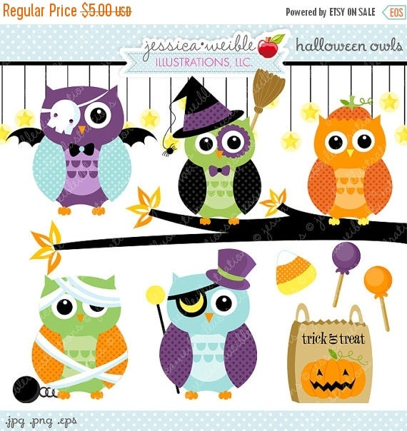 ON SALE Halloween Owls Cute Digital Clipart- Commercial Use OK - Halloween Graphics, Halloween Clipart, Cute Halloween Owl