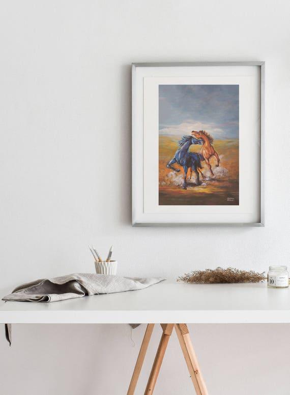 Fighting Stallions Matte Print- Various Sizes  | Horse art, horse decor, horse wall art, horse artwork, stallion art horse painting